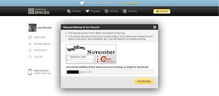 posterous backup 730x323 Twitter owned Posterous finally lets users export their data   will it now close down in 2013?