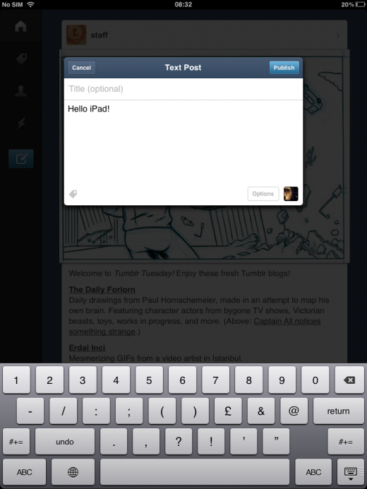 tumblr4 520x693 Tumblr for iOS finally gets iPad support, featuring Path like explore menu, markdown support