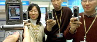 Employees of Samsung Electronics demonst