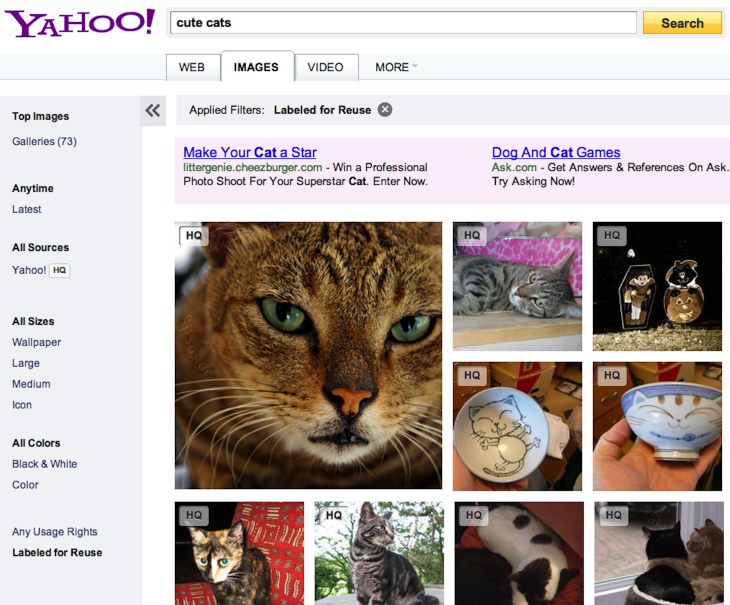 Image Search Results for cute cats 093637 730x605 Yahoo now combs through Flickr for extra image search results, lets you filter photos for reuse