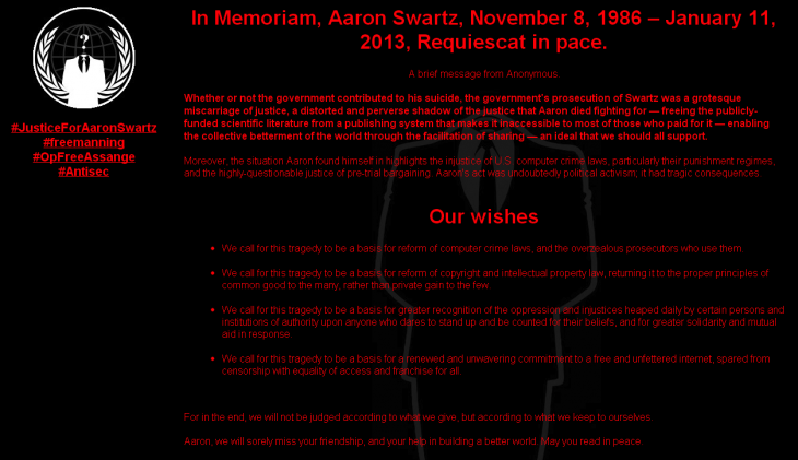 MIT Anonymous 730x421 Anonymous hacks MIT web pages in tribute to Aaron Swartz