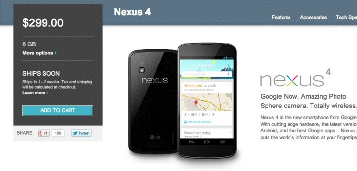 Nexus 4 730x350 Google starts selling the Nexus 4 again in the US and Germany, but other countries still left in the dark