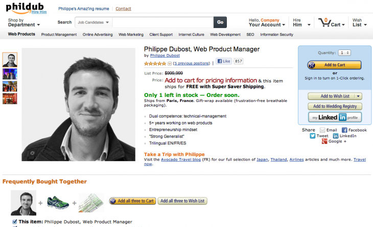 Screen Shot 2013 01 24 at 11.33.33 AM 730x445 Brilliant: This guy turned his resume into an Amaz ing Amazon product page