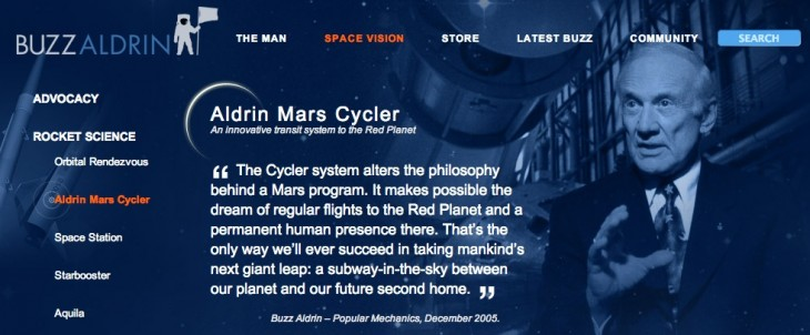 aldrin mars cycler on buzzaldrin.com  730x302 Buzz Aldrin remembers the moons magnificent desolation as he calls for missions to Mars