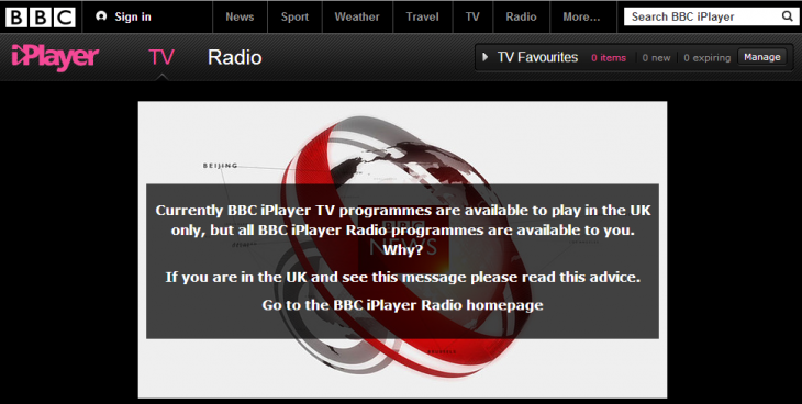 bbc iplayer fail 730x368 Sweet: Hola lets you use Hulu, Pandora, Netflix, CBS, Fox, BBC iPlayer TV, and iTV from any country