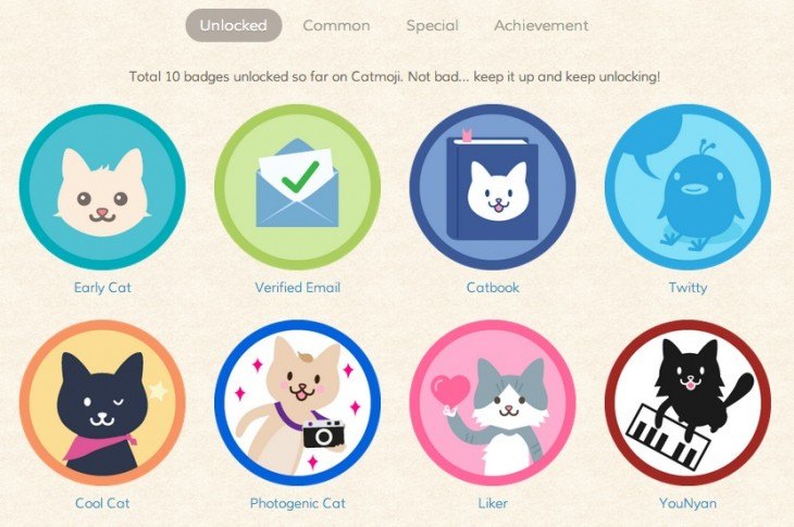 catmoji badges 730x485 How Catmoji got 7,000 users to share 21,000 cat video and pictures in one month