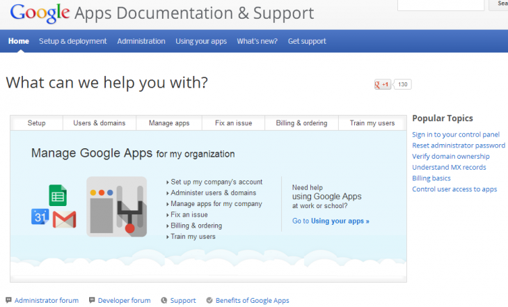 google apps support 730x441 Google revamps Apps support site with documentation, training, and self help resources