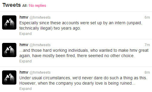 moretweets HMV staff hijack company Twitter account to live tweet the sacking of 60 employees