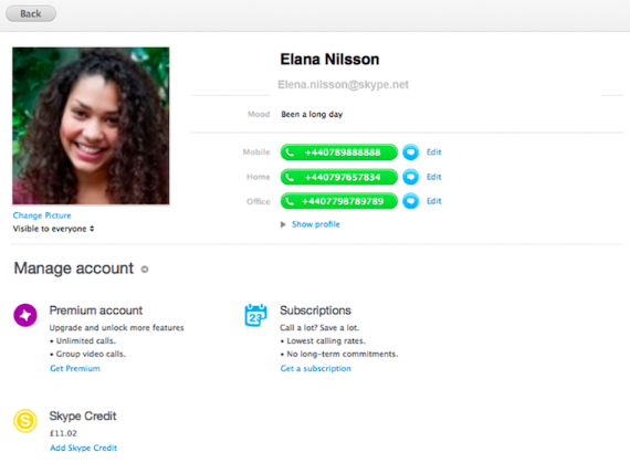 profile4 mac61 Skype updates Mac app with click to call in Safari and revamps user profile view