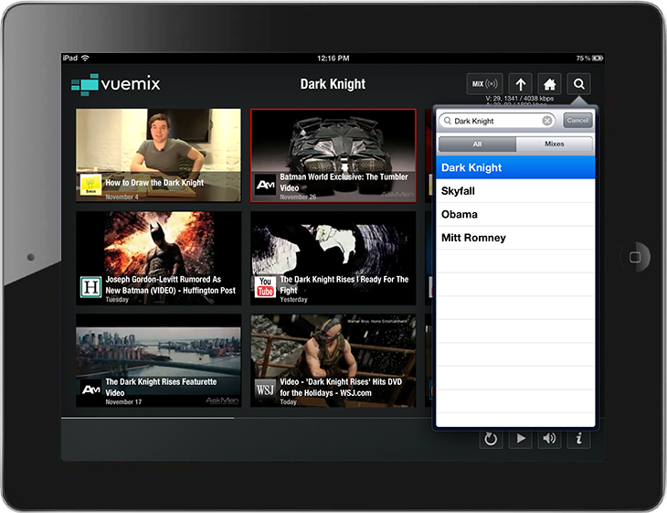 search Vuemix releases streaming video iPad app with smart search and interactive 9 video interface