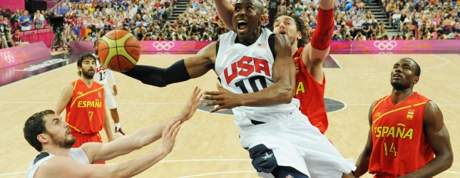US guard Kobe Bryant jumps to score duri
