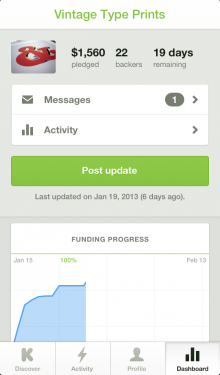 Fprogress 220x375 Kickstarter launches its mobile offensive with a new iOS app, we go hands on