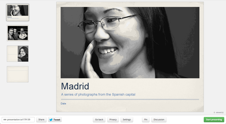 Madrid Presentation.io lets other people watch your slideshow in real time through an Internet browser