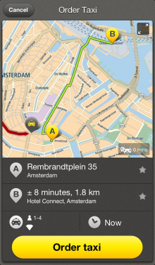 Order Taxi iPhone 5 220x376 TomTom launches an iPhone app for its taxi service, still only available in the Netherlands
