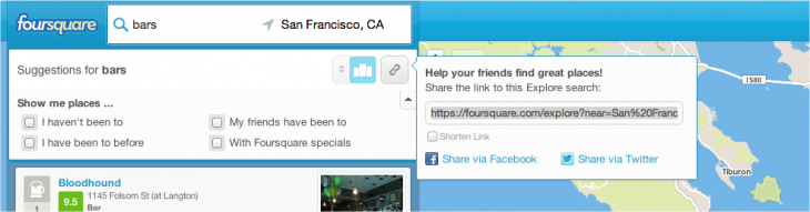Snap 2013 02 22 at 13.50.53 730x191 Foursquare now lets you share Explore searches to evangelize the value of its recommendation engine