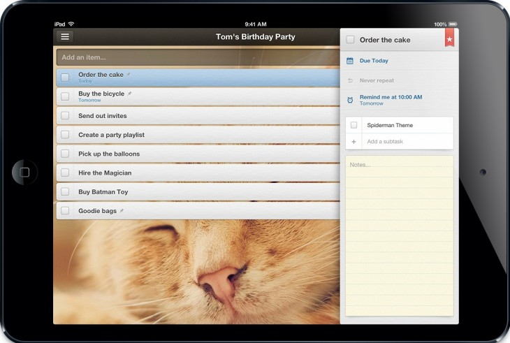 Wunderlist iPad Mini Detail View 730x491 With 3.5m registered users, Wunderlist takes its rebuilt, redesigned task management app to iPad