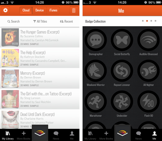 audiblescreens Amazon's Audible launches on iPad, improving the design of its existing iPhone app along the way
