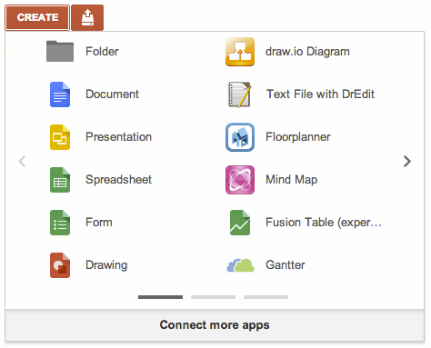 create.menu  Google Drives Create menu now lets you add and access third party, Drive enabled apps