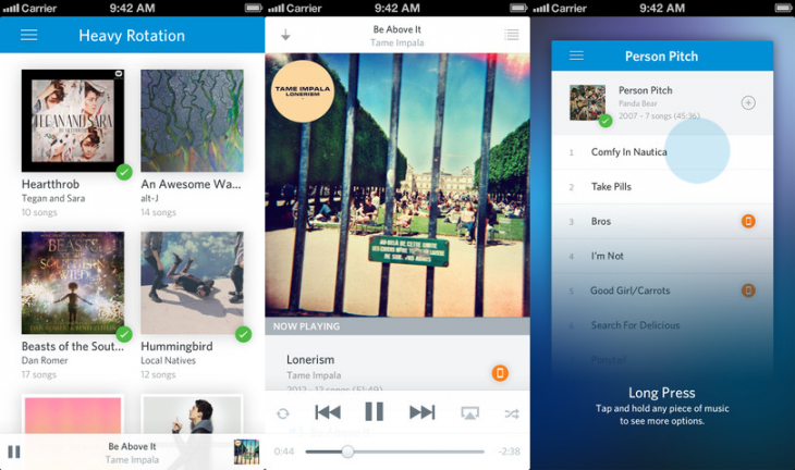 rdio ios 730x432 Rdio for iOS gets easier navigation via fresh design, long press music handling, and collection badges