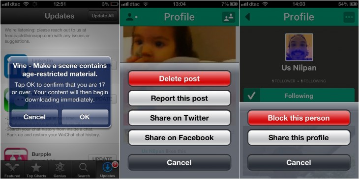 vine combo 730x365 Vine gets 17+ age rating, option to report users; finally enables social sharing after videos are posted