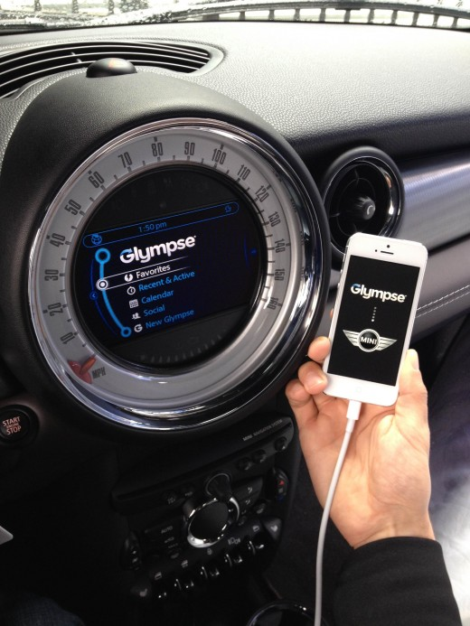 Glympse Mini Integration1 e1364353433652 520x693 Glympse brings its location sharing to BMW and MINI vehicles alongside Audible, Rhapsody and TuneIn