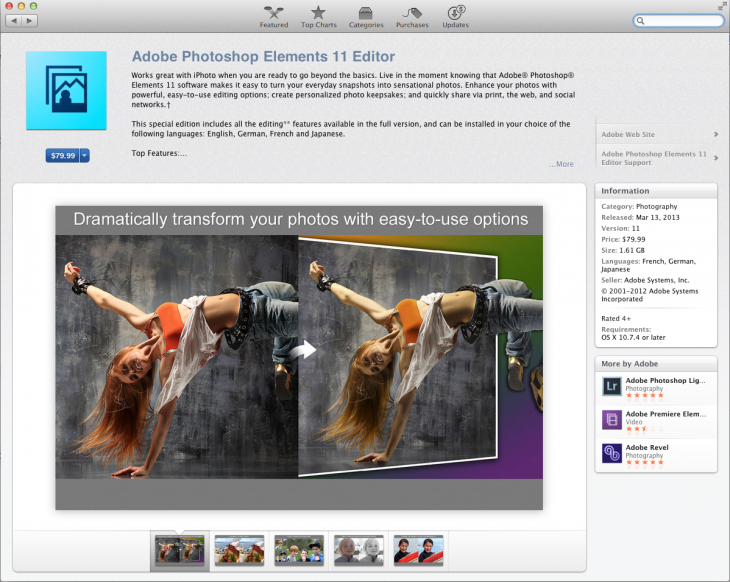 Photoshop Elements Editor 730x582 Adobe Photoshop Elements 11 Editor finally lands in the Mac App Store, six months after its release