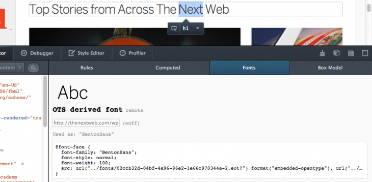 Screen Shot 2013 03 13 at 11.23.27 AM 730x358 Type lovers rejoice: Firefox DevTools is getting a Font Inspector, available in the latest Nightly