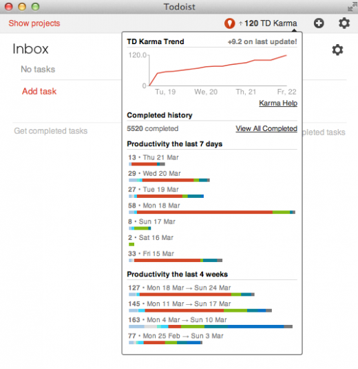 Todoist 520x535 Todoist now gamifies your task management activity with karma scores and productivity graphs