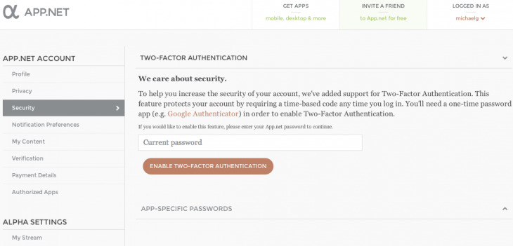 adn security 730x351 App.net beefs up security with two factor authentication and application specific passwords