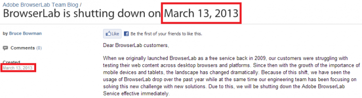 adobe browserlab march 13 730x198 Adobe shuts down desktop browser testing service BrowserLab without warning, blames rise of mobile devices