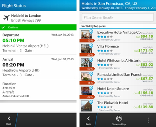 bbtravelscreens2 BlackBerry Travel updated for BB10 with flight status sharing, price alerts and BlackBerry ID support