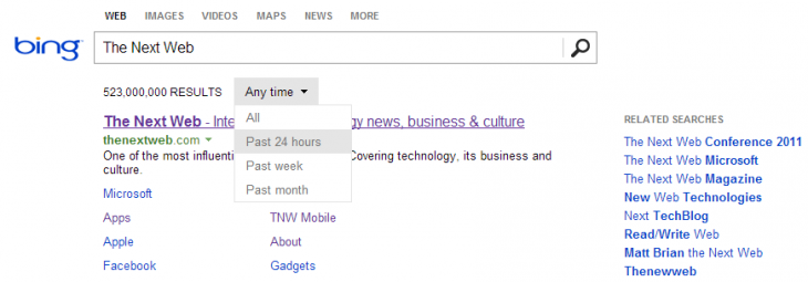 bing tnw 730x255 Microsoft updates Bing to let you sort your search results by time period: Past 24 hours, week, or month