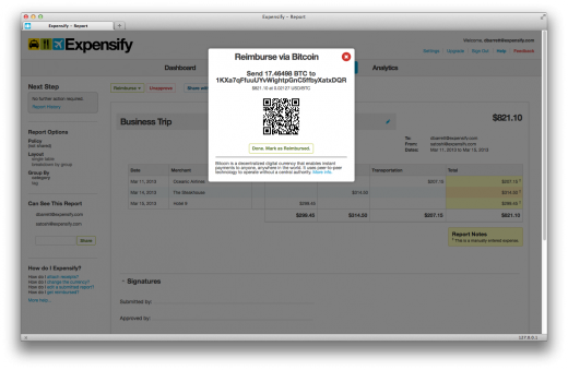 bitcoin reimburse dialog 520x339 Expensify adds Bitcoin support to offer instantaneous international reimbursements