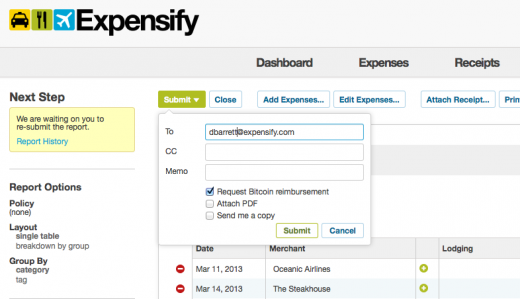 bitcoin submit request 520x299 Expensify adds Bitcoin support to offer instantaneous international reimbursements
