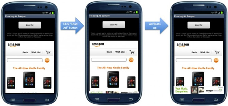 floating ad sample 730x341 Amazon introduces Mobile Ads API, offering in app advertising to U.S. viewers of any Android app