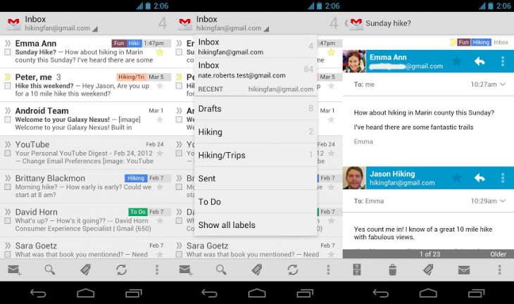 gmail android 730x432 Gmail for Android gets direct notification replies, archives in Jelly Bean, faster searching in ICS and up