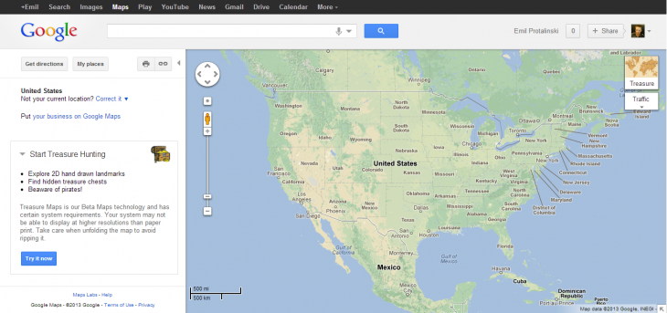 google maps treasure 730x343 Round Up: All of Google's jokes for April Fools 2013