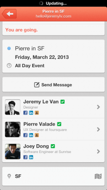 invitees 220x390 Next gen calendar app Sunrise for iOS gets smarter with Rapportive style profiles for event attendees