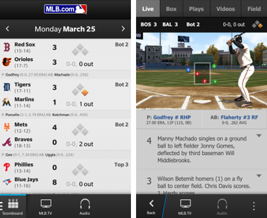 mlbscreens2 Mega popular baseball app MLB At Bat 2013 launches on BlackBerry 10, just in time for Opening Day