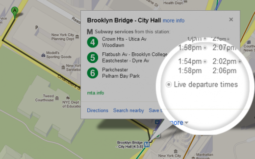 mta realtime 520x325 Google Maps now shows live transit departure times in NYC and Salt Lake City, adds service alerts in DC