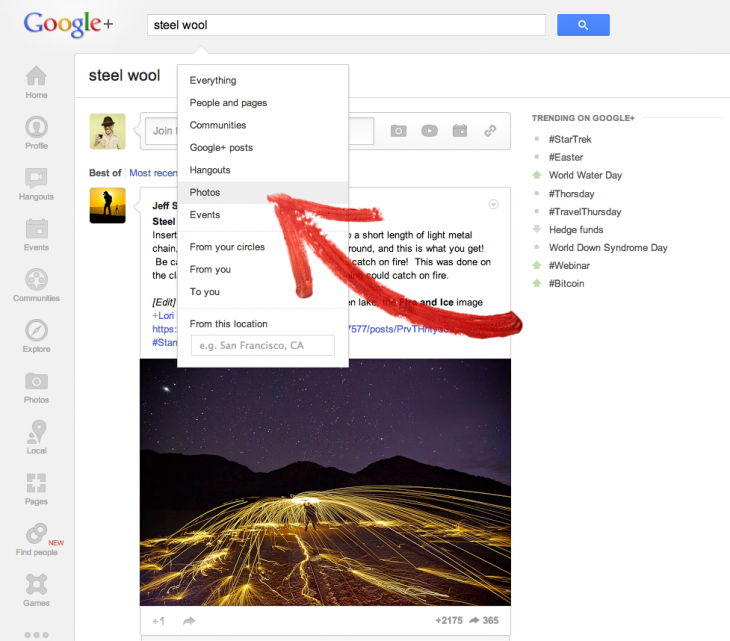photosearch 730x641 Google+ updated with new search filter for photos