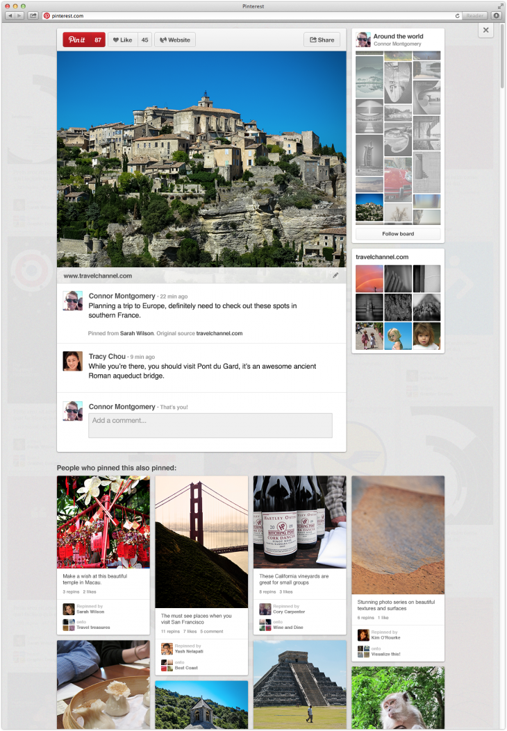 pinterest1 730x1053 Pinterest rolls out its site redesign with easier access to boards and related content from a pin page