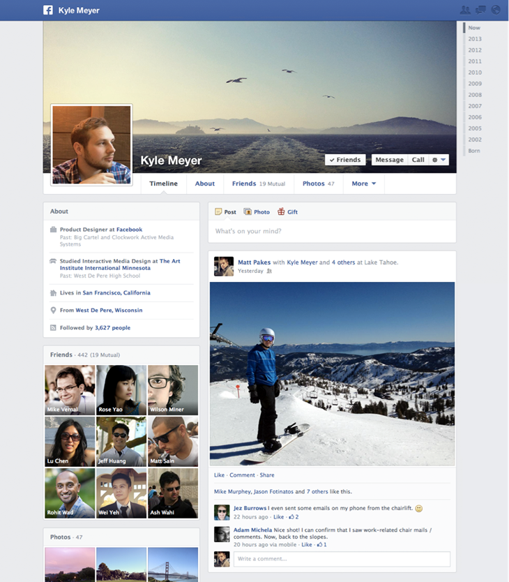 profile cropped Facebook begins rolling out new one column Timeline with increased emphasis on interests
