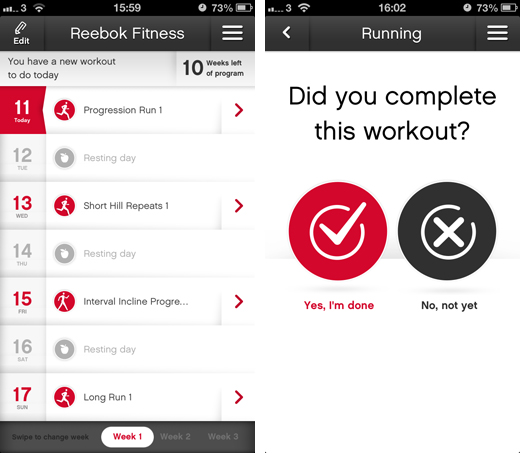 reebokscreens2 Reebok Fitness arrives on iOS and Android with customizable workout programs, pro tips and more