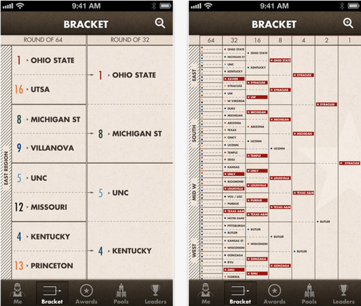 simplebracket 730x620 The Simple Bracket iPhone app will keep you sane during March Madness