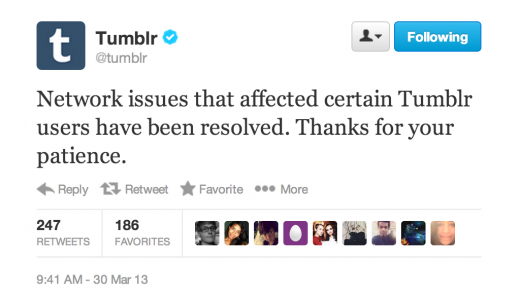 tumblr up 520x297 Tumblr undergoes 3 hour outage due to network issues  [updated]