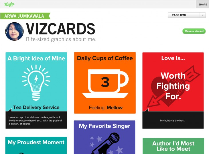 vizcardgallery 730x537 With 250k users, Vizify moves out of beta and launches mini self infographics called Vizcards