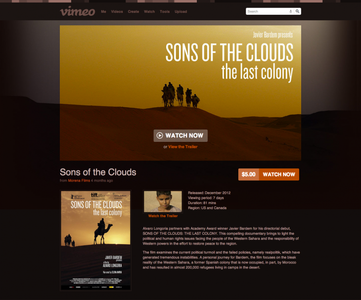 vod sons of the clouds screenshot 730x607 Vimeo now lets video producers sell and rent their work – and keep 90% of the revenue