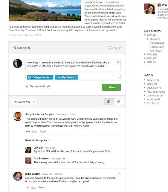 Fountain screenshot EN Google+ comments arrive on Blogger, shows drive to link the social network to all Google services