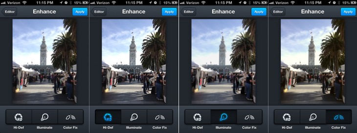 aviary enhance 730x273 Aviary's Photo Editor v2.0 hits the Apple App Store with new tools, faster blurring, saving, more